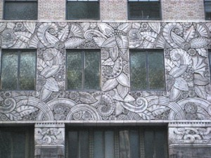 Entertaining Art Deco ornamentation close to the street level in Manhattan, 42nd St.