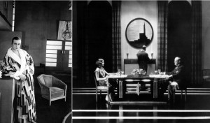 In the 1926 French film La Vertige, actor Jaque Catelain in an Art Deco interior, and a bath robe designed by Donia Delaunay. In the 1929 Greta Garbo film The Kiss, a city interior by the famous designer for films, Cedric Gibbons, who visited and was greatly inspired by the 1925 Paris exhibition.