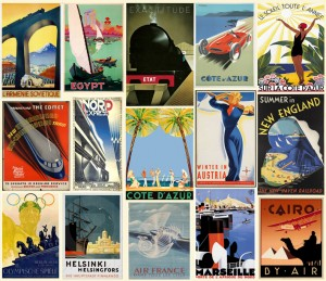 From the 1920's on, the world and its wonders was closer for travelers, by train, car, ocean liner or by air. Art Deco reflected in the 1920's and 30's graphic design and posters. Charles Lindbergh was the first to fly non-stop solo over the Atlantic. When the hero landed in Paris, he was greeted by 100 000 spectators. The Finnish national airlines, Finnair, was founded in 1923 under the name of AERO.