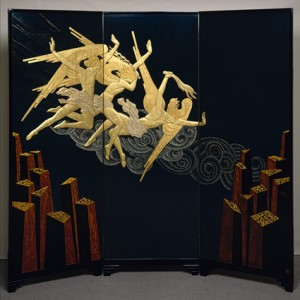 "Exotic Japanese influence in Art Deco: ""Fortissimo screen"", 1925–26 by Jean Dunand, Séraphin Soudbinine; Lacquered wood, eggshell, mother-of-pearl"