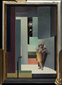"Nikolai Kaario's oil painting ""Masquerade"", 1927, could as well be a plan for an Art Deco interior, or stage design. (Turku Art Museum, photo: Vesa Aaltonen)"