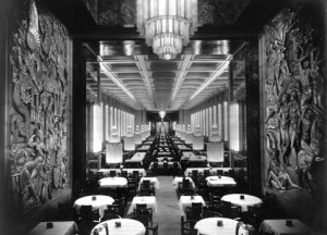 Leisure travel is the ultimate luxury in the 20's and early 30's. S/S Normandie offered glamour for its mostly 1st class passengers The Art Deco restaurant was said to equal the mirrored hall of Versailles in its wow-impact.