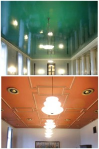 Finnish Parliament's Deco ceilings in rich colors.