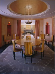 Saarinen's dining room at Cranbrook. The furniture (1929) features typical Art Deco elements of stylized sun-rays.
