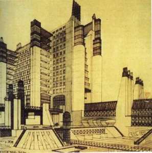 A Key Member Of Futurism Was The Architect Antonio SantElia Whose Drawings For An Industrialized And Mechanized Futurist City With Its Interconnected
