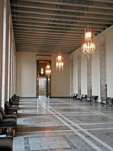 The State Room in its grandeur, patterned stone floor, massive golden doors, Tutankhamun inspired furniture and Art Deco chandeliers made in Finland.