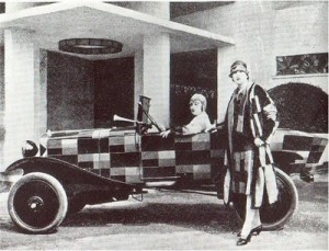 Sonia Delaunay's simultaneous fashion for liberated women and speedy cars, 1923.